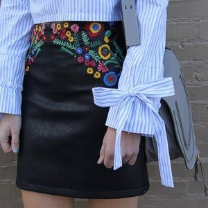Zara Faux Leather Embroidered Skirt